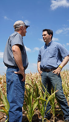 Wisconsin Gov. Scott Walker believes propane retailers can work together with farmers who have the capacity to store fuel earlier in the year. This is one of many solutions to help avoid future winter shortages, he says. Photo courtesy of Scott Walker and Chris Tews