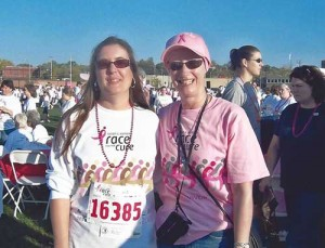 Debra Grooms, right, and Michelle Wicker, her assistant, participated in a Susan G. Komen Race for the Cure in 2007 as Grooms went through chemotherapy. Photos courtesy of Debra Grooms and Wendy Gorham