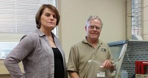Alkcon Corp. CEO Lauren Scott and Kent Hoekman of the Desert Research Institute.