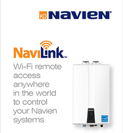 Navien's NaviLink makes it easy for commercial and residential users to communicate with their Navien systems, the company says. Photo courtesy of Navien.
