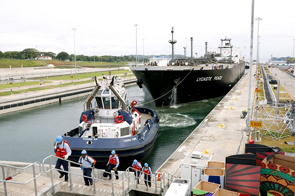 An LPG vessel passes through the expanded Panama Canal. Photo courtesy of the Panama Canal Authority.