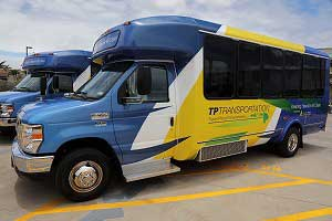 Travel Plaza Transportation (TPT) debuted three eco-friendly El Dorado Aerotech 240 propane minibuses that will go into service mid-June. Photo coutesy of TPT