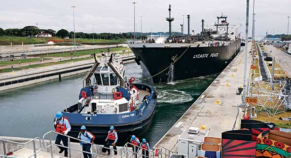 The very large gas carrier Lycaste Peace, owned by Japanese shipping company Nippon Yusen Kaisha, was the first liquefied petroleum gas vessel through the canal's new locks. Photos courtesy of the Panama Canal Authority