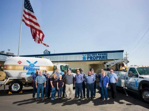 Van Unen Miersma Propane's three propane delivery trucks are part of a partnership the company formed with the Semper Fi Fund. Photo courtesy of Van Unen Miersma Propane