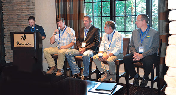 From left: LP Gas Editor-in-Chief Brian Richesson with autogas panelists Gordon Cunningham, Jake Otte, David Gable and Mike Hayden at Reunion Resort in Orlando, Florida.