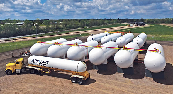 Propane Depot's rail terminal in Barron, Wisconsin, features 360,000 gallons of storage in the company's tank farm. Also, 750,000 gallons of propane can be stored in railcars. Photo courtesy of Propane Depot