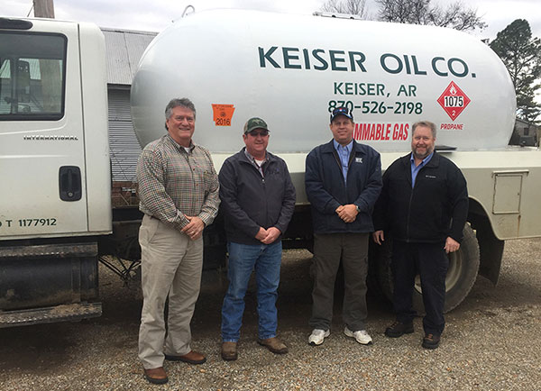 Pictured from left to right: Jeff Goodwin, MFA Oil district manager; Nathan Dunman, former Keiser Oil and Gas Company owner; Chip Bennet, MFA Oil acquisition specialist; Joe Case, MFA Oil acquisition specialist. Photo courtesy of MFA Oil
