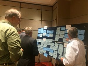 Attendees of PERC's propane forklift market development workshop pinpoint some challenges and opportunities in this market segment. Photo by Megan Smalley