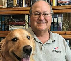 Binning performs work for the Arizona, Colorado and New Mexico propane associations out of his home office in Colorado. Max, his golden retriever, keeps Binning company at his office. Photo courtesy of Dan Binning