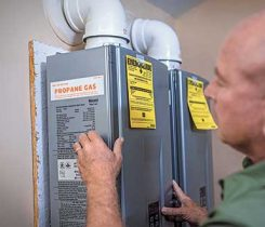With hydronic heating, tankless water heater installations will also serve as a backup space-heating source in homes. Photo courtesy of the Propane Education & Research Council