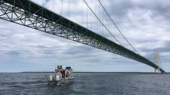 Enbridge performs an external inspection of the pipeline near the Mackinac Bridge. Photo Courtesy of EnBridge