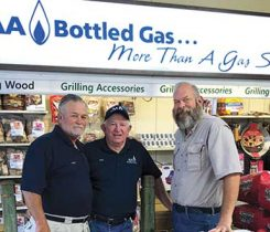 From left, AA Bottled Gas' Larry Rogers, Gene Thigpen and David Pinkstaff. Photo courtesy of AA Bottled Gas