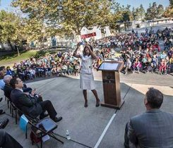 Joy Alafia, president and CEO of the Western Propane Gas Association, takes a selfie with the student body of Sierra Enterprise Elementary School. The Propane Education & Research Council donated $5,000 to the school in recognition of Elk Grove Unified School District's adoption of more than 200 propane-powered school buses. Photo courtesy of the Propane Education & Research Council