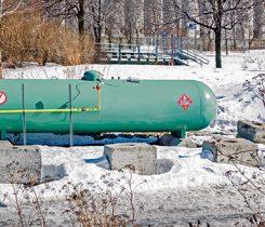 green propane tank. Photo: iStock.com/AlbertPego