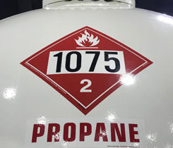 Propane 1075 placard. Photo by Joe McCarthy