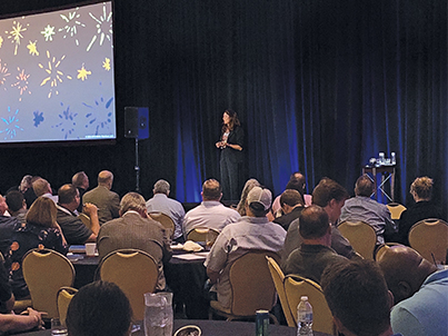 Nilofer Merchant, former executive at Apple, delivers the keynote address in Chicago. Photo courtesy of PERC.