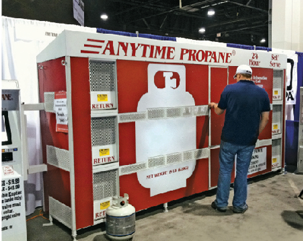 Anytime Propane specializes in self-serve cylinder kiosks. Cylinder exchange photo by Brian Richesson