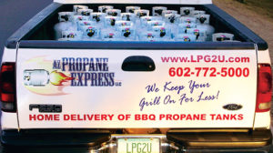 Propane cylinder delivery saves customers time and adds convenience to the cylinder exchange market. Photo courtesy of LPG2U