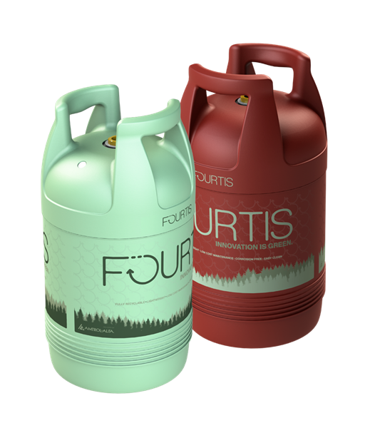 An image of Worthington Industries' composite propane cylinders, which are lightweight and durable. Photo courtesy of Worthington Industries