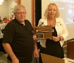 Incoming president Randy Hagedorn presents certificate of appreciation to outgoing president Karen Elliott. Photo courtesy of WVPGA.