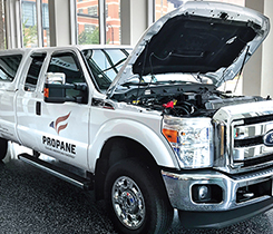 Renewable propane can be used as a drop-in replacement in Roush CleanTech's 0.02 grams per brake horsepower-hour engine. Photo by Joe McCarthy