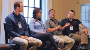 Retail propane company decision-makers on the panel are, from left, Ricky Hobday, Nicole Sullivan, John Weigel and Frank Edwards. Photo by <em>LP Gas</em>