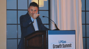 Dale Delay talking about his Gallon Challenge during the 2018 LP Gas Growth Summit. Photo: LP Gas