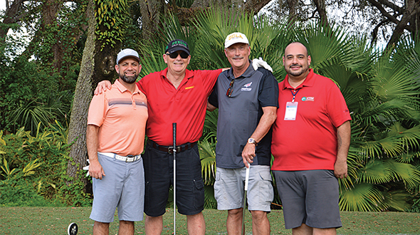 This foursome was grouped together for the golf outing at October's LP Gas Growth Summit. Tackling the Palmer Course at Reunion Resort in Orlando, Florida, were, from left, Dennis DiSabatino of Cargas, Hank Smith of WESROC, Kevin Cobb of Suburban Propane and Ronny Martinez of Icom North America. Photo: Joelle Harms