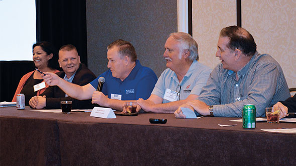 Lyndon Rickards of Eastern Propane & Oil, center, participates in a panel discussion at the National Safety & Trainer's Conference in San Antonio. Randy Warner is second from left. Photo by Joelle Harms
