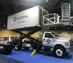Hacor unveiled its delivery truck during the Advanced Clean Transportation Expo (known as ACT Expo) in Long Beach, California. Photo courtesy of Roush CleanTech.