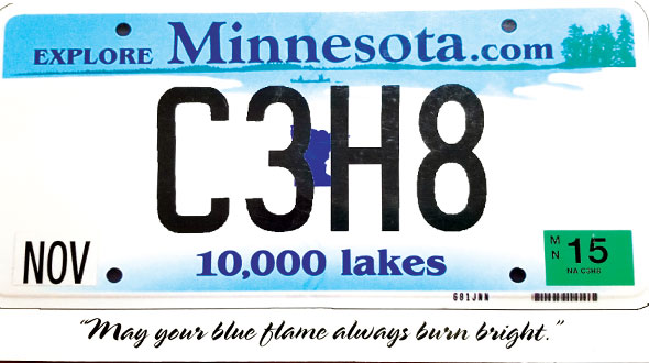 The chemical formula for propane adorned Mahre's license plate. Photo courtesy of the Mahre family.