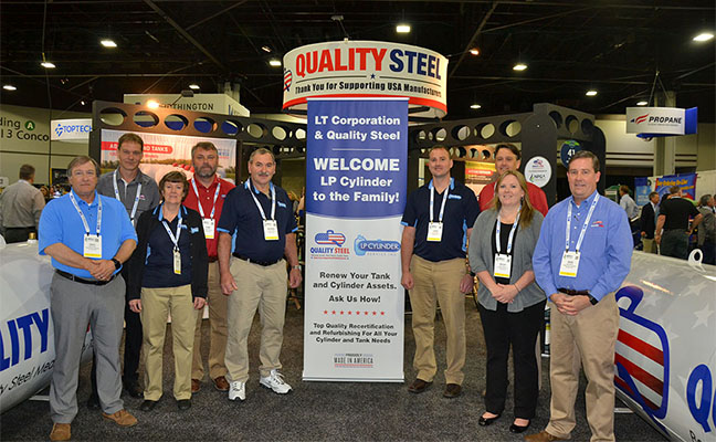 The Quality Steel and LP Cylinder Service teams on the show floor of the 2019 NPGA Propane Expo. Photo by Brian Richesson