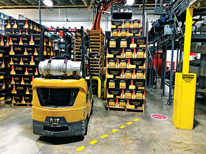 Propane used for forklifts eliminates the need for batteries and improves torque. Photo courtesy of Maker's Mark.