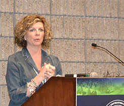Paige O'Dell talked about her experiences leading operations for Americas' central region. PHOTO BY ELLEN KRIZ