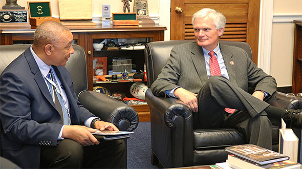 George Walton of Prism Propane, left, meets with Rep. Bob Latta, R-Ohio, during Propane Days. Photo by Mikayla Hall
