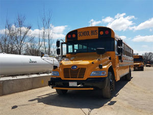 Each of the Blue Bird Vision propane school buses are powered by a Roush CleanTech propane fuel system. Photo courtesy of Roush CleanTech.