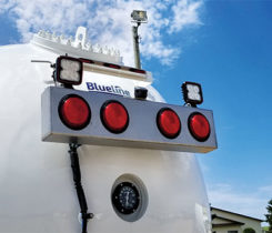 Just to the right of Westmor's Blueline logo is one lens of a 360-degree camera. Photo courtesy of Westmor