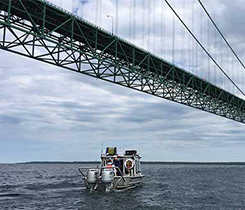 Enbridge performs an external inspection of the pipeline near the Mackinac Bridge. Photo courtesy of Enbridge