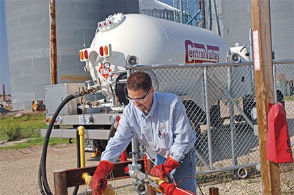 Propane marketers and farmers work outside, with pumps and motors and with rural customers. Photo courtesy of CHS.