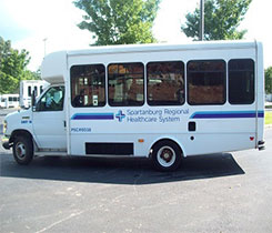 Spartanburg Regional Healthcare System chose to first convert cutaway (wheelchair equipped bus) and courier vehicles. Photo courtesy of Alliance AutoGas