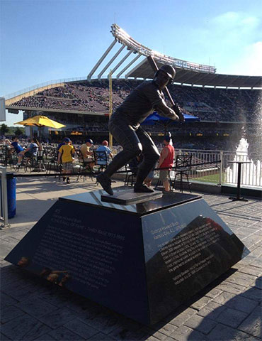 The George Brett statue at Kaufman Stadium, home of the Kansas City Royals, in Kansas City, Missouri. Photo by Kevin Yanik