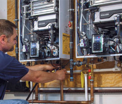 Tankless water heaters have gotten the industry's attention. Photo courtesy of Navien