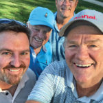 The chairmen of the National Propane Gas Association (Randy Thompson, left) and the Propane Education & Research Council (Rob Freeman, back) enjoy a round of golf with Ray Murray III, second from left, and Randy Doyle. The group played at Nemacolin Woodlands Resort in Farmington, Pennsylvania, site of the association's fall board meeting. Photo courtesy of Randy Doyle