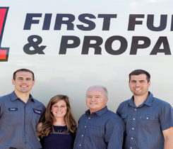 Rich Coon, the company's founder, second from right, with David Coon, far left, Courtney Coon and Austin Coon. Photo courtesy of First Fuel & Propane