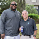 Ed Varney of RegO, right, welcomes former NFL offensive lineman Flozell Adams to the Pros4Care golf benefit at Stonebridge Ranch Country Club in McKinney, Texas. The event brings awareness in the propane industry to the prevalence of prostate cancer and the importance of regular exams. Photo by Brian Richesson