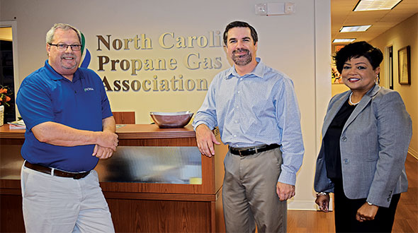 North Carolina Propane Gas Association leaders are, from left, David Donahue, John Jessup and Beverly Dodd. The association is focusing efforts on workforce development and autogas. Photo by Brian Richesson