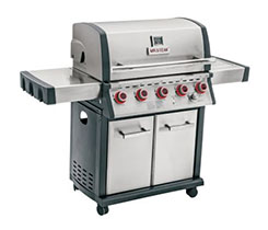 "The grills are stainless steel with black trim and have four or five black and red dials. The words ""MR. STEAK"" are printed below the thermometer on the grills' lid. Photo courtesy of U.S Consumer Product Safety Commission"