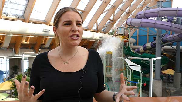 Talya Regan, director of marketing for Kartrite, explains propane's benefits for the indoor water park. Photo: Roger Rosenbaum