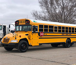 One of Moriarty-Edgewood School District's new propane buses. Photo courtesy of Roush CleanTech