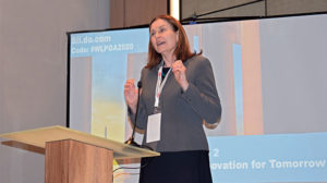 Rebecca Groen, director of biofuels at SHV Energy, moderates a panel during the WLPGA summit. Photo by LP Gas Staff
